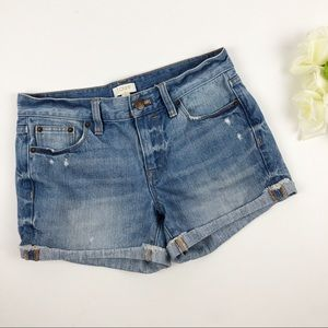 J Crew Distressed Cuffed Jean Shorts Size 24